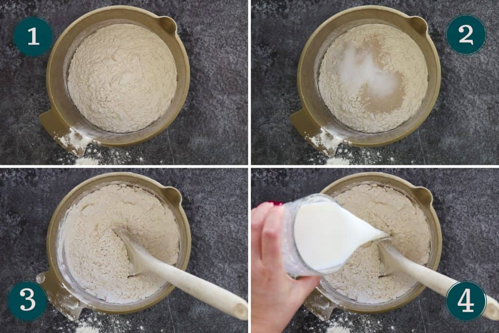 process collage showing how to mix flour, yeast, sugar, salt and milk to make dough