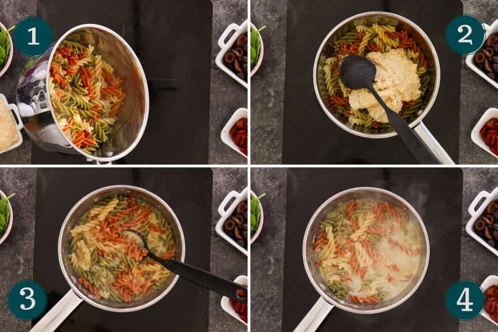 collage showing how to mix hummus with pasta and pasta water