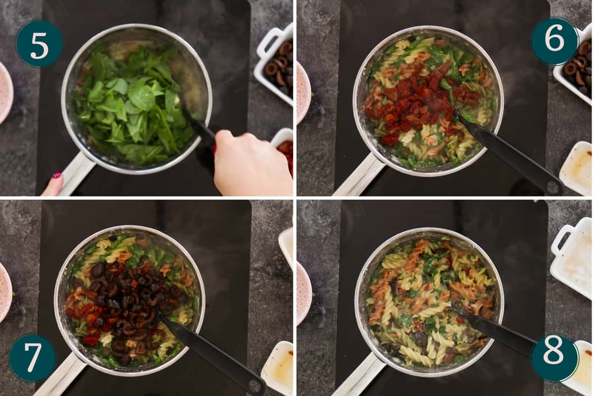 collage showing how to add spinach, sun-dried tomatoes and black olives to hummus pasta