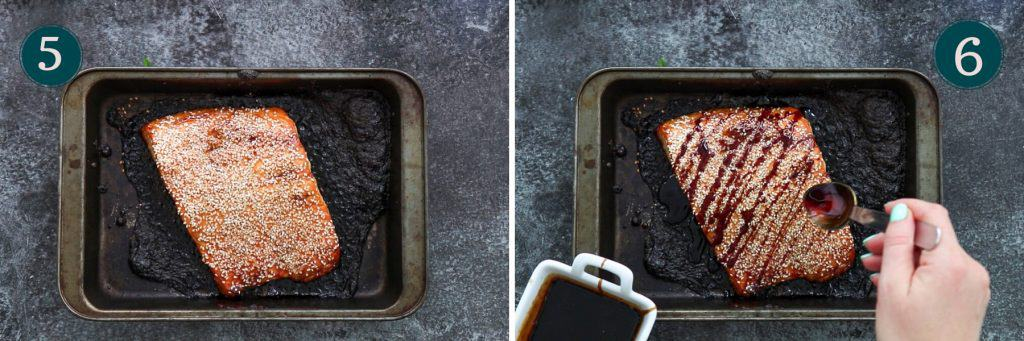 process collage showing how baked teriyaki salmon looks after baking and how to drizzle it with teriyaki sauce