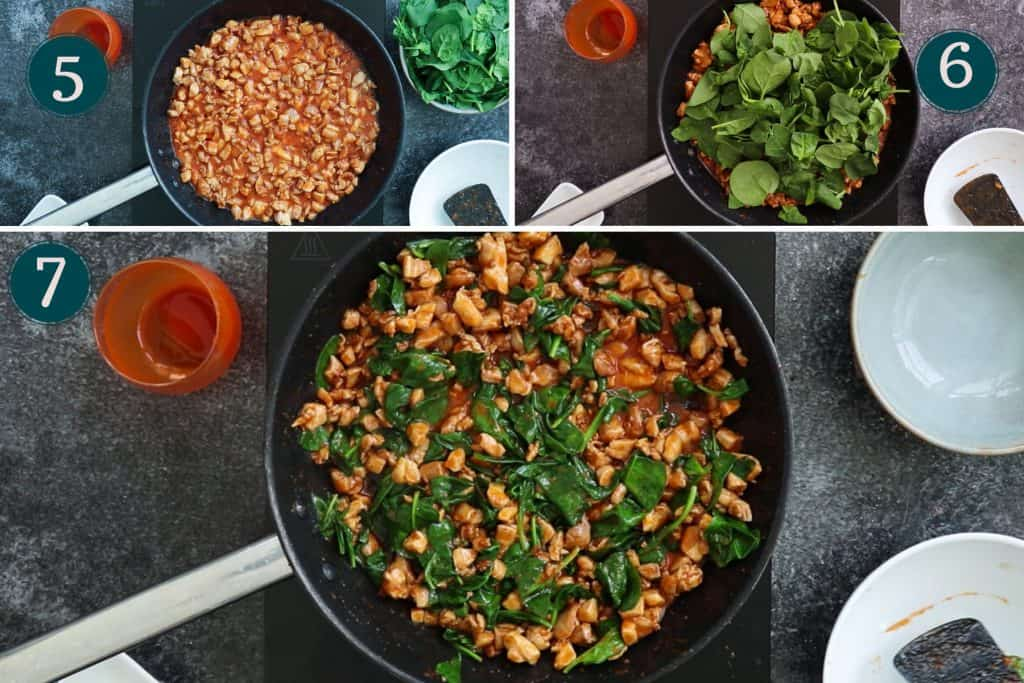 collage showing how to simmer buffalo chicken before adding spinach