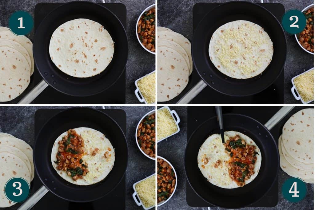 collage showing how to heat a tortilla and add cheese and chicken to make quesadillas