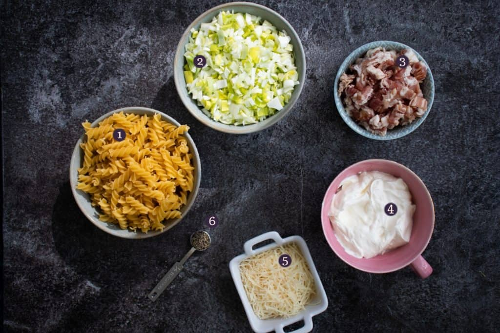 top down view of ingredients needed to make creme fraiche carbonara with bacon - pasta, leeks, bacon, creme fraiche, parmesan and ground black pepper
