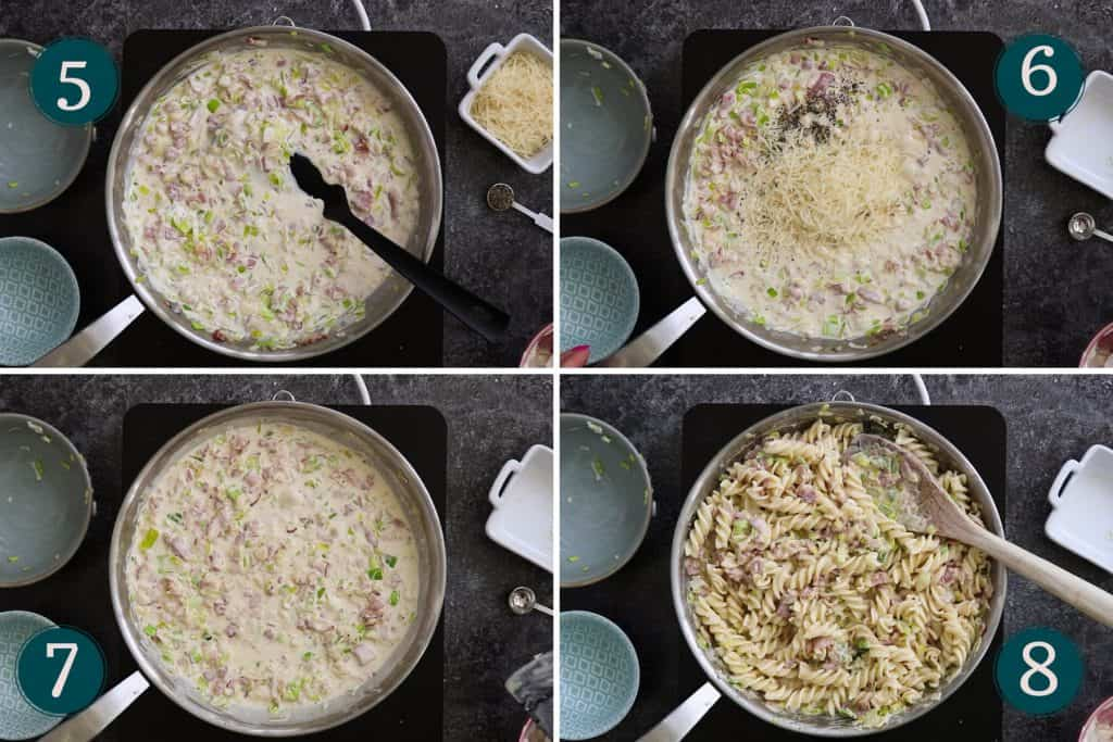 collage showing how to add créme fraîche and seasoning to bacon and leeks