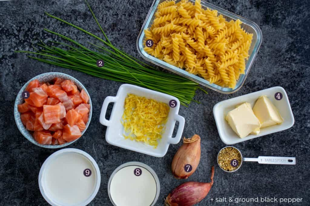 top down picture showing the ingredients needed to make creme fraiche salmon pasta
