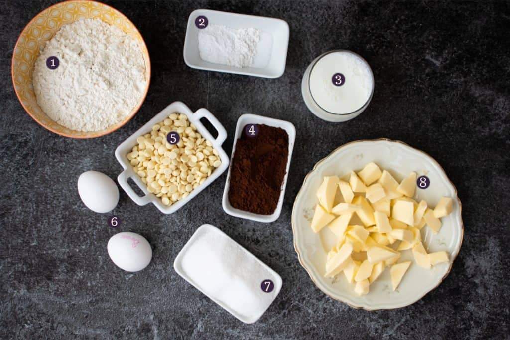 top down image of ingredients needed to make double chocolate chip muffins
