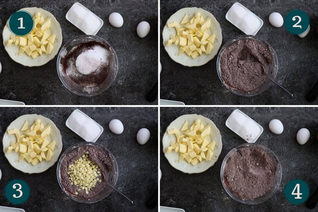 process collage showing how to mix together the dry ingredients and the white chocolate chips