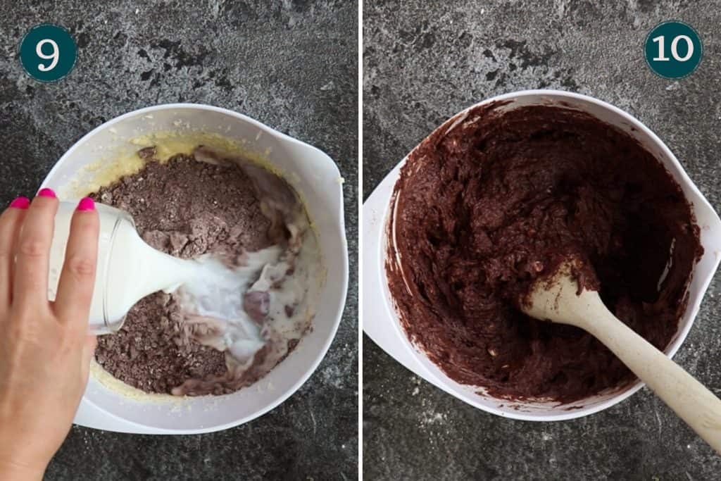 process collage showing how to add dry ingredients and milk to muffin batter and what it should look like when mixed together - smooth and even