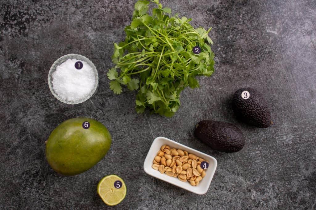 Ingredients needed to make avocado mango salad: avocado, mango, salte roasted peanuts, fresh cilantro, sea salt flakes and lime