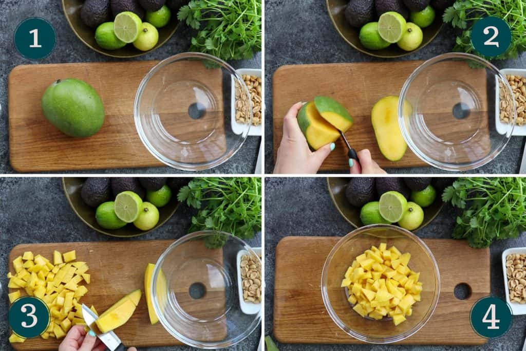 process collage showing how to peel, pit and chop mango