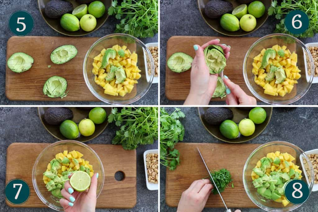 process collage showing how to peel, pit and chop avocado and how to add lime juice and chop cilantro