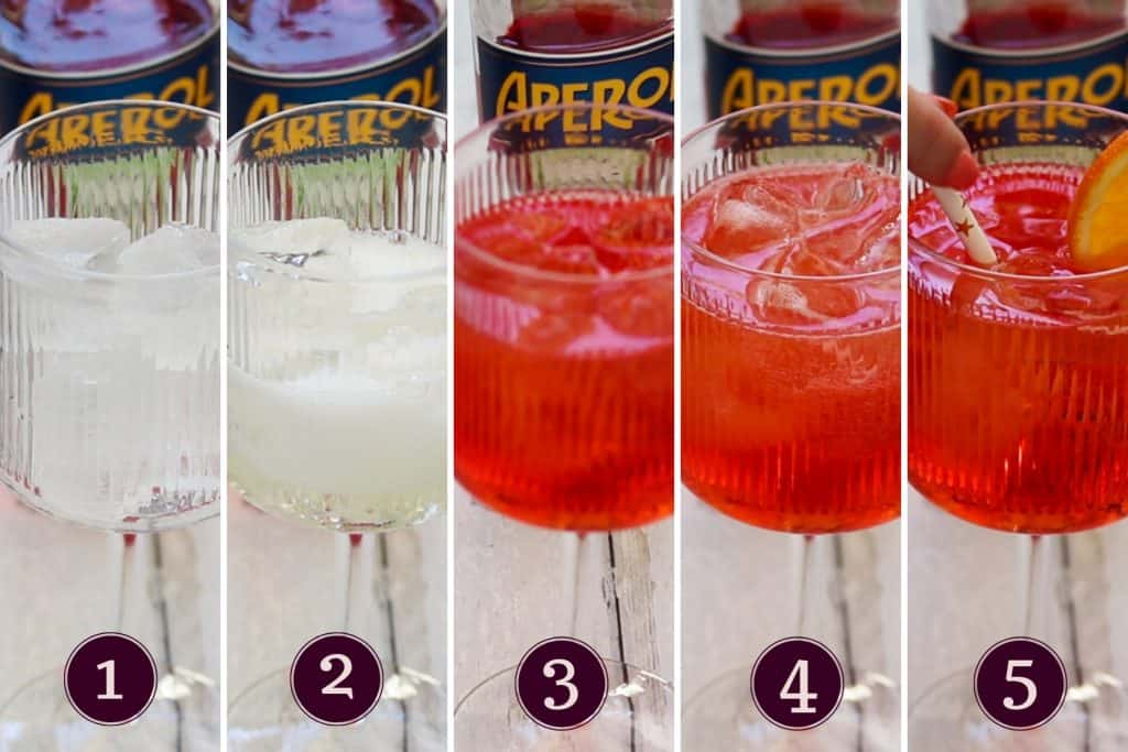 collage showing how to make an aperol spritz