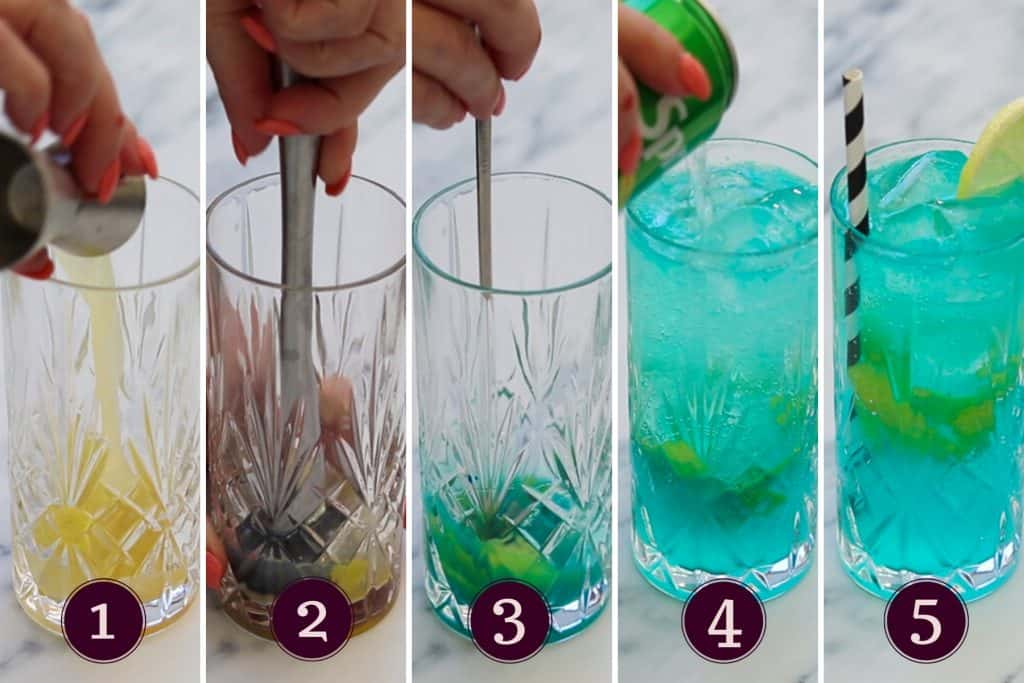 collagr showing the five steps to making a blue lagoon mocktail
