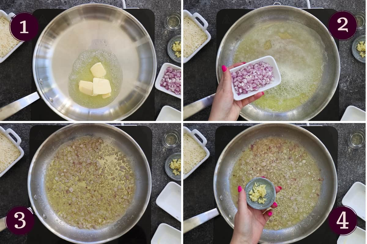 collage showing how to melt butter and add chopped shallots and minced garlic