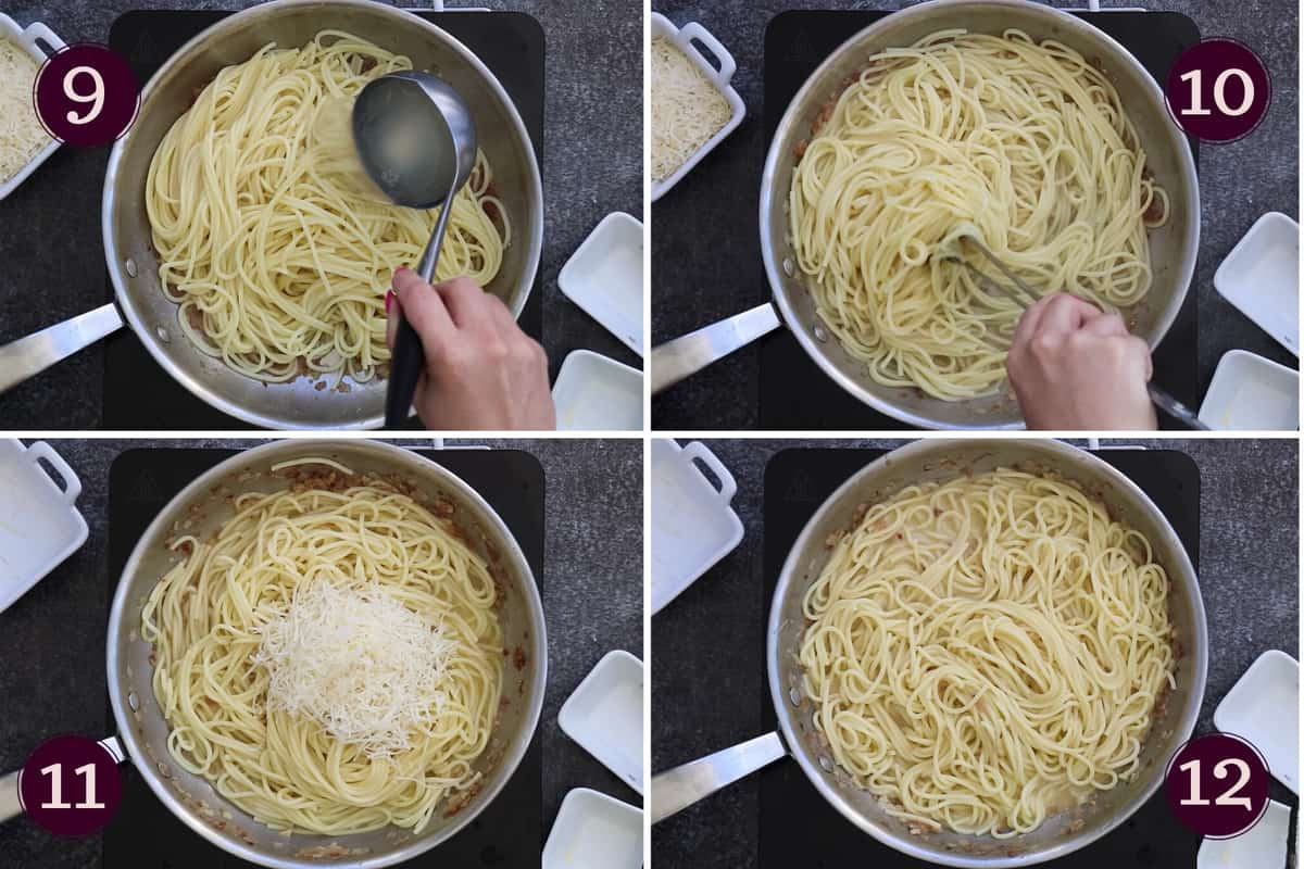 collage showing how to add pasta water and mix before mixing in Parmesan cheese