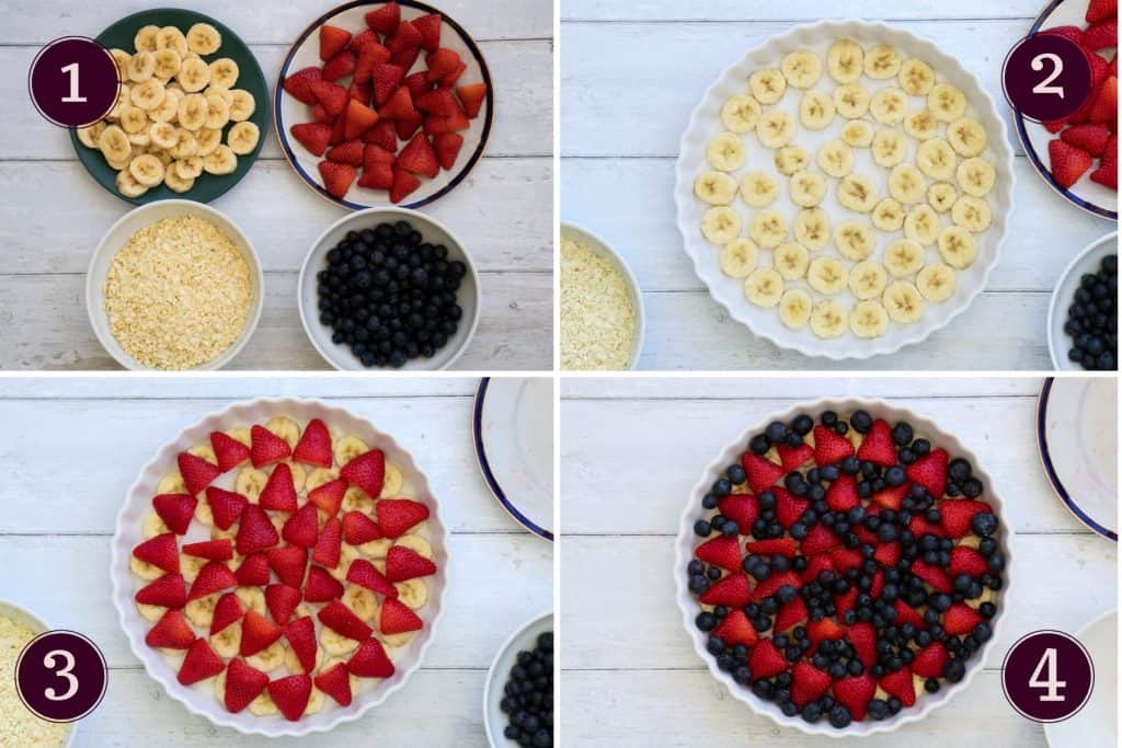 collage showing how to combine bananas, strawberries and blueberries for a berry bake
