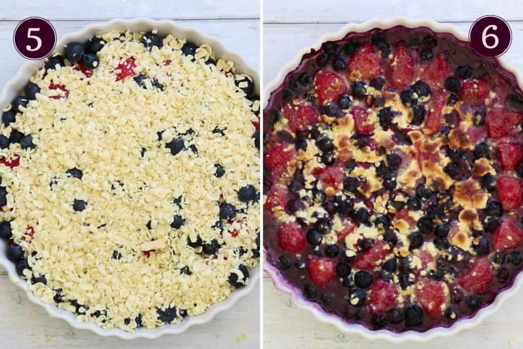 collage showing a white chocolate fruit bake before and after baking