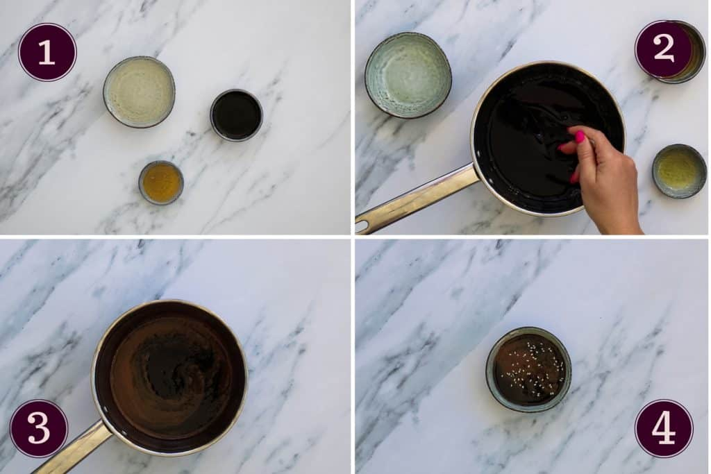 collage showing how to make teriyaki sauce as well as the ingredients needed