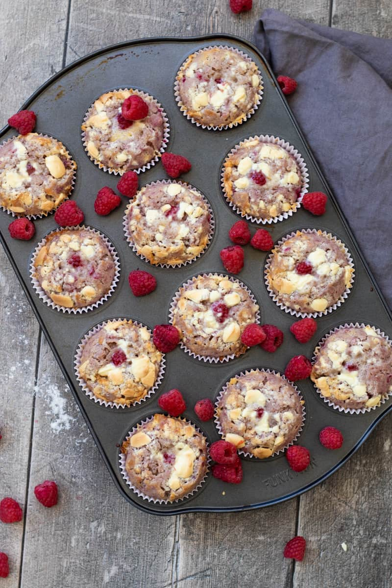 top down view of a muffin tray full of raspberry white chocolate muffins