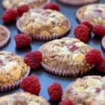 close up of raspberry white chocolate muffins
