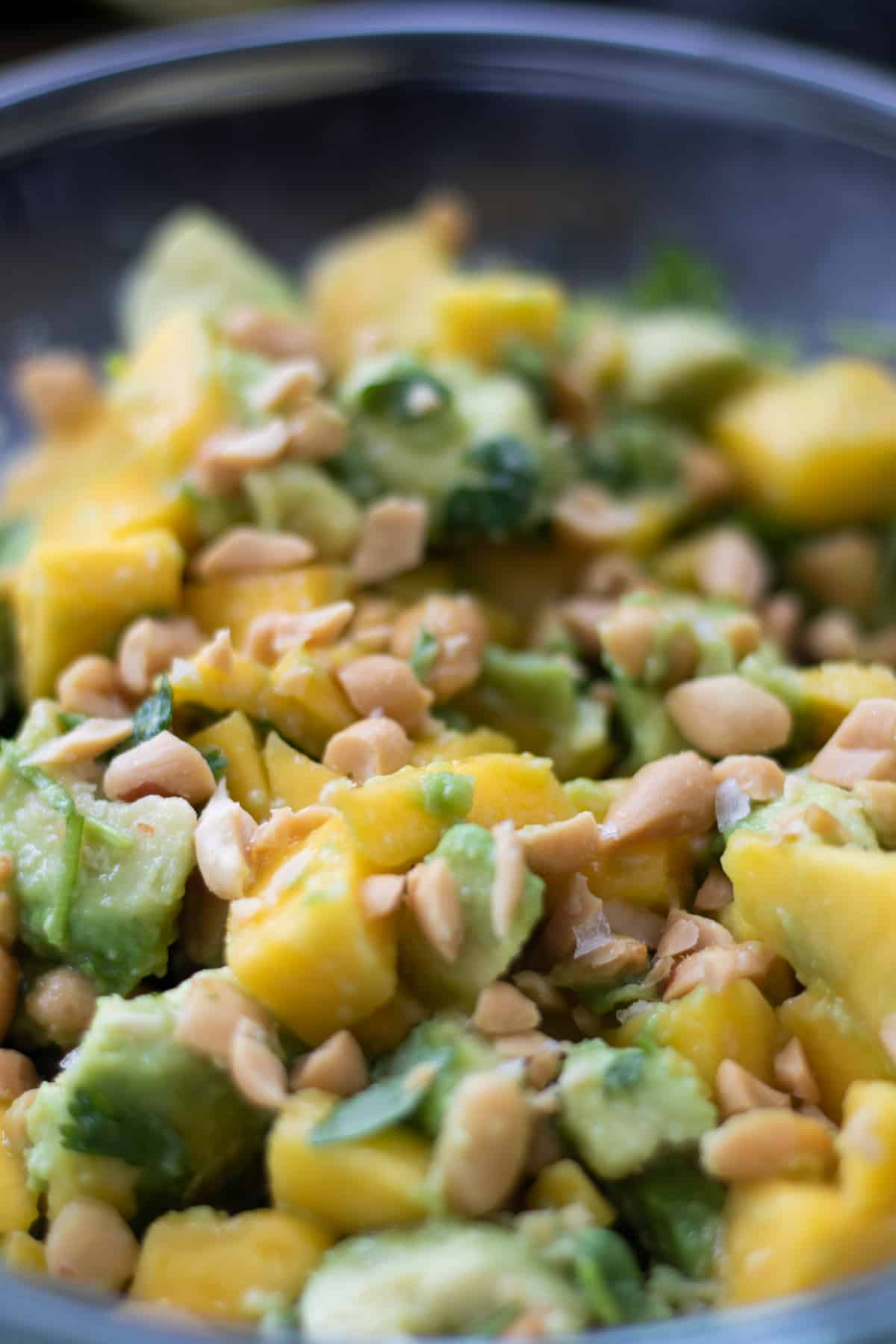 close up of avocado mango salad topped with salted roasted peanuts