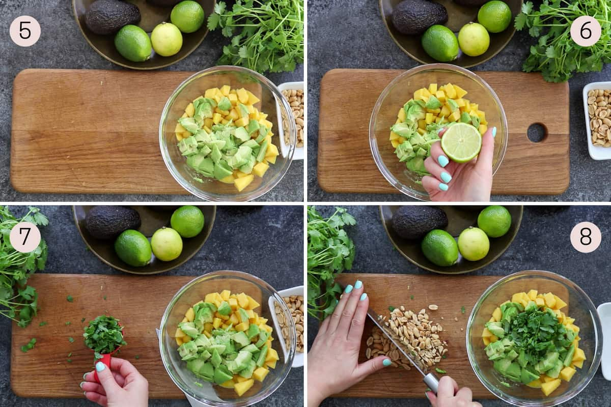 collage showing how to put together mango, avocado, lime, cilantro and peanuts to make a salad