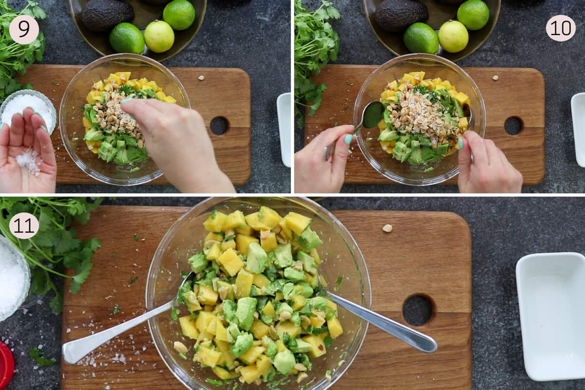 process collage showing how to add sea salt flakes to vocado mango salad and mix