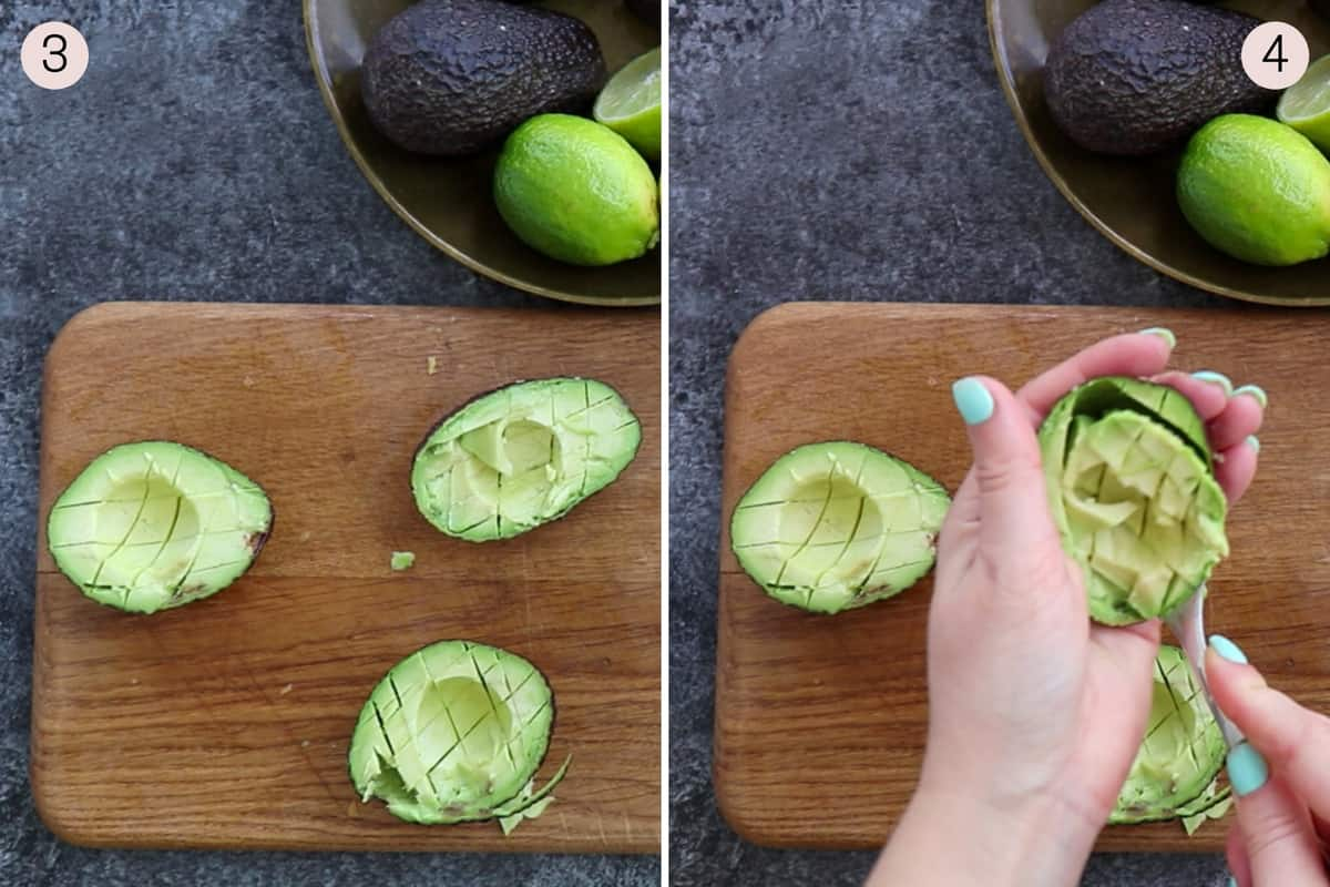 collage showing how to prepare avocados for salad