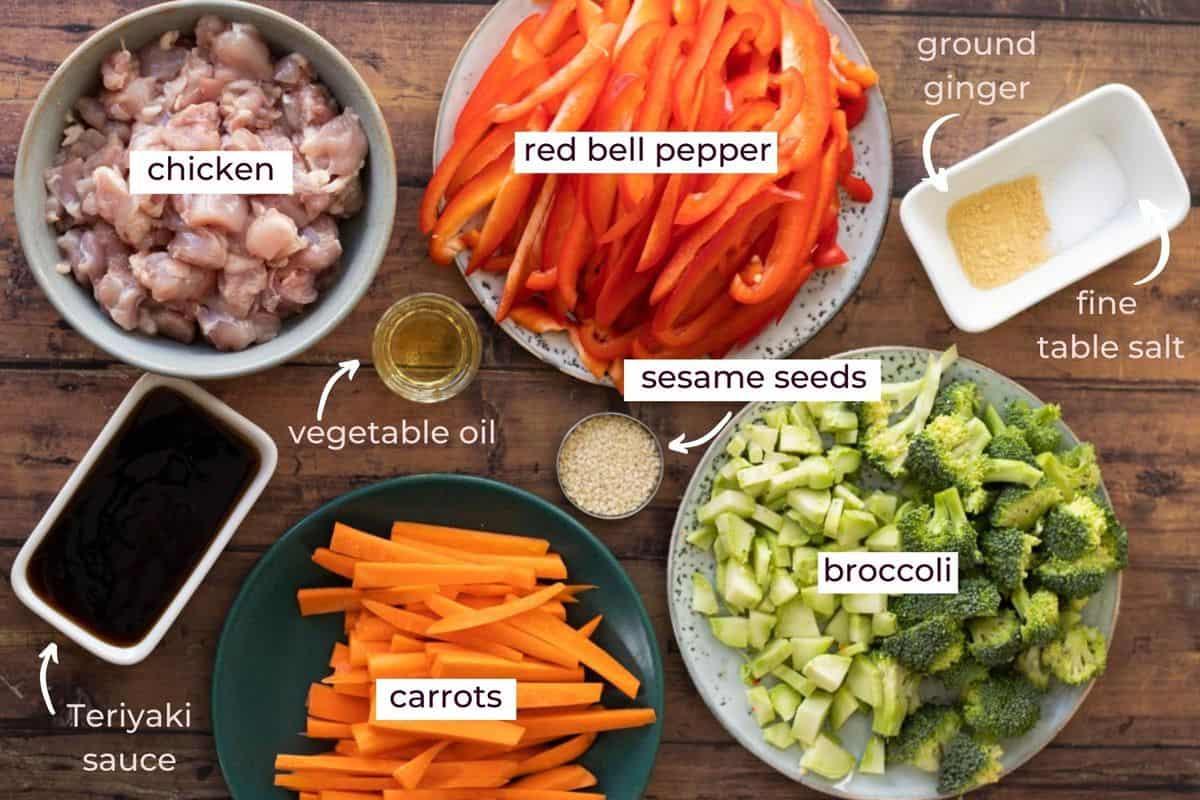ingredients needed to make chicken teriyaki stir fry