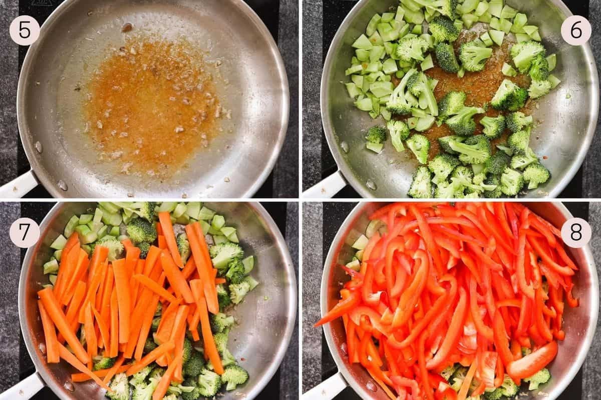 collage showing how to add broccoli, carrots and bell peppers to pan for a stir fry