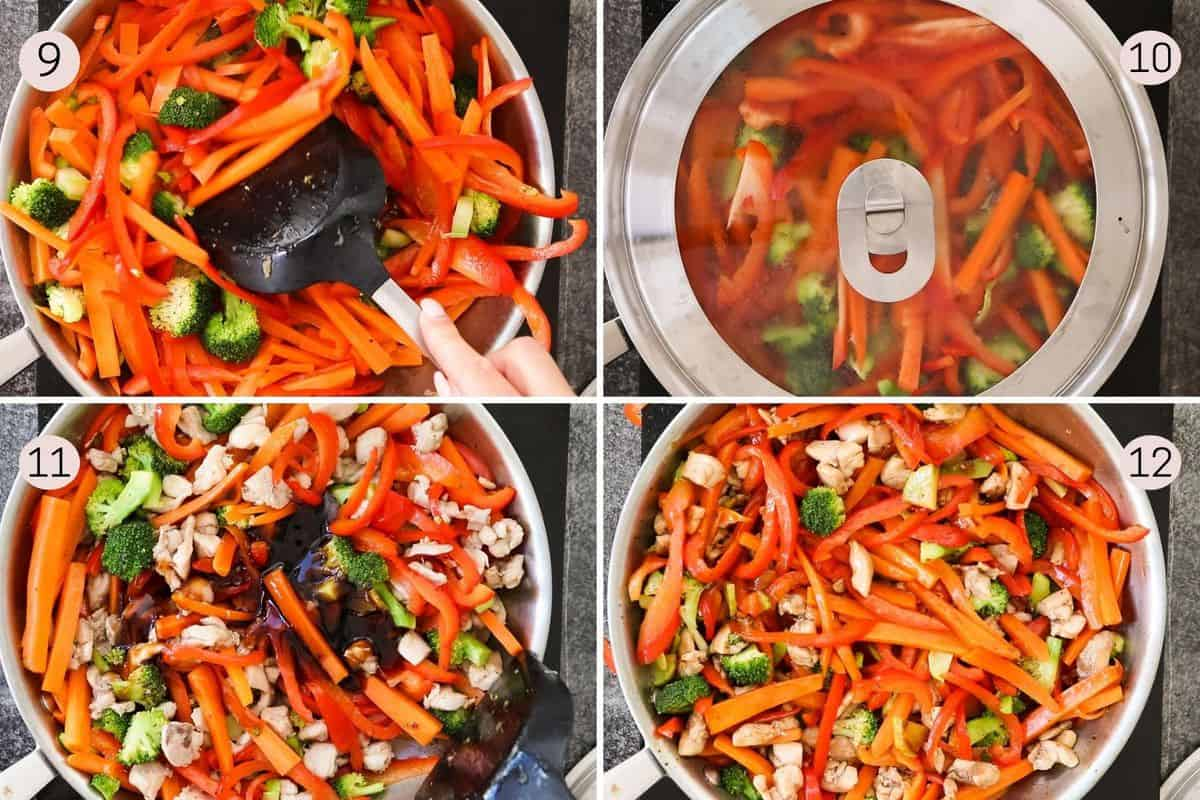 collage showing how to mix and cook veggies for stir fry and then add chicken and teriyaki sauce