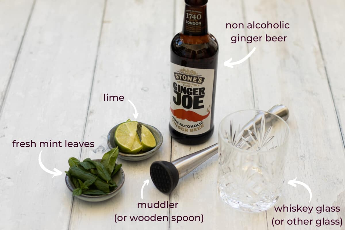 what you need to make a ginger beer mocktail