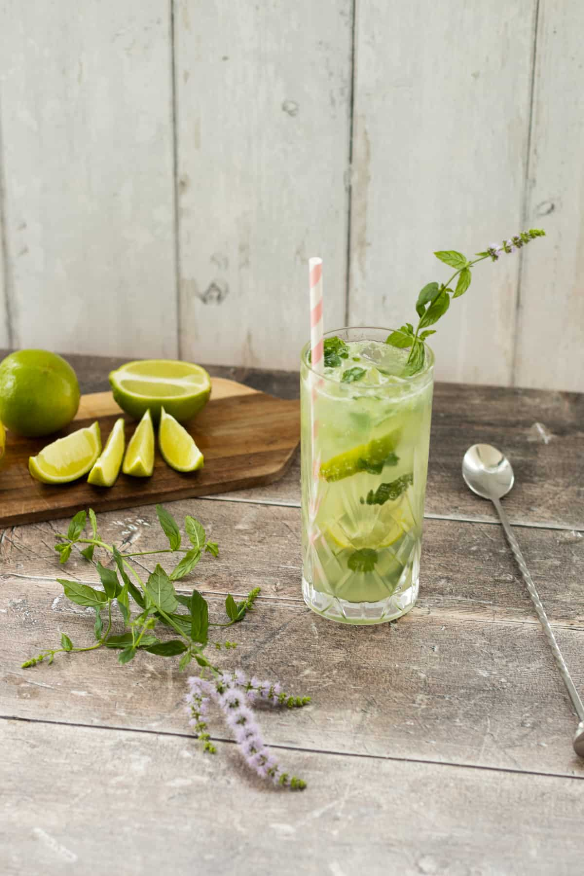 mojito mocktail next to a sprig of mint and some lime wedges