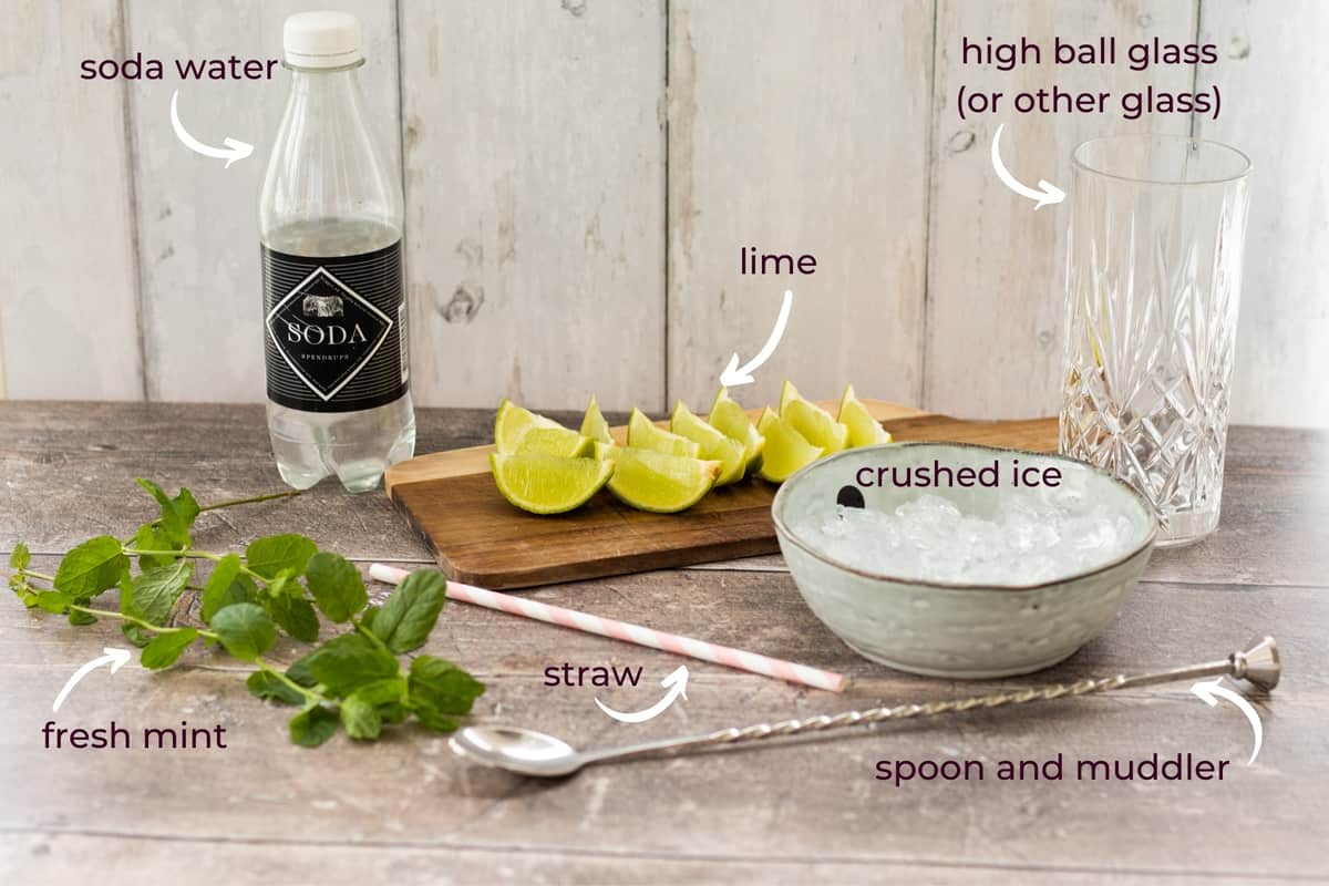 what you need to make a mojito mocktail