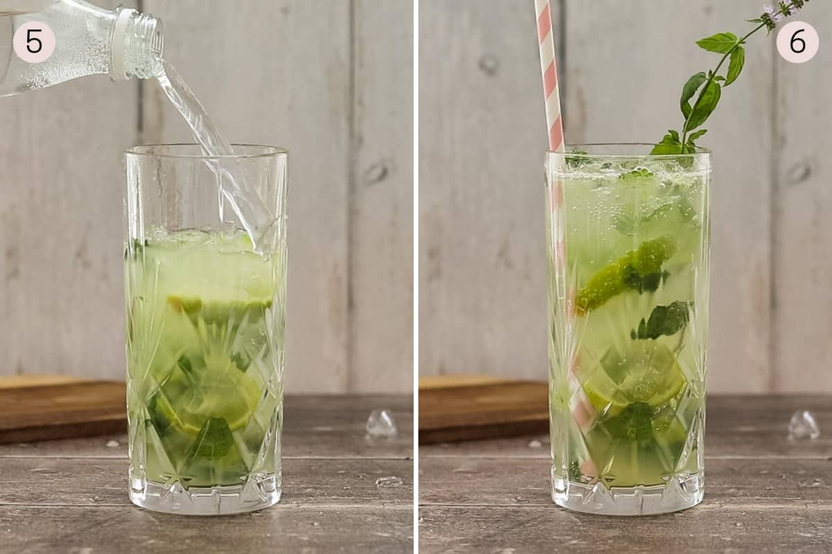 collage showing how to add soda water to make a mojito mocktail