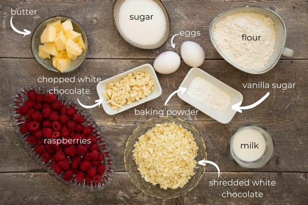 ingredients needed to make raspberry white chocolate muffins