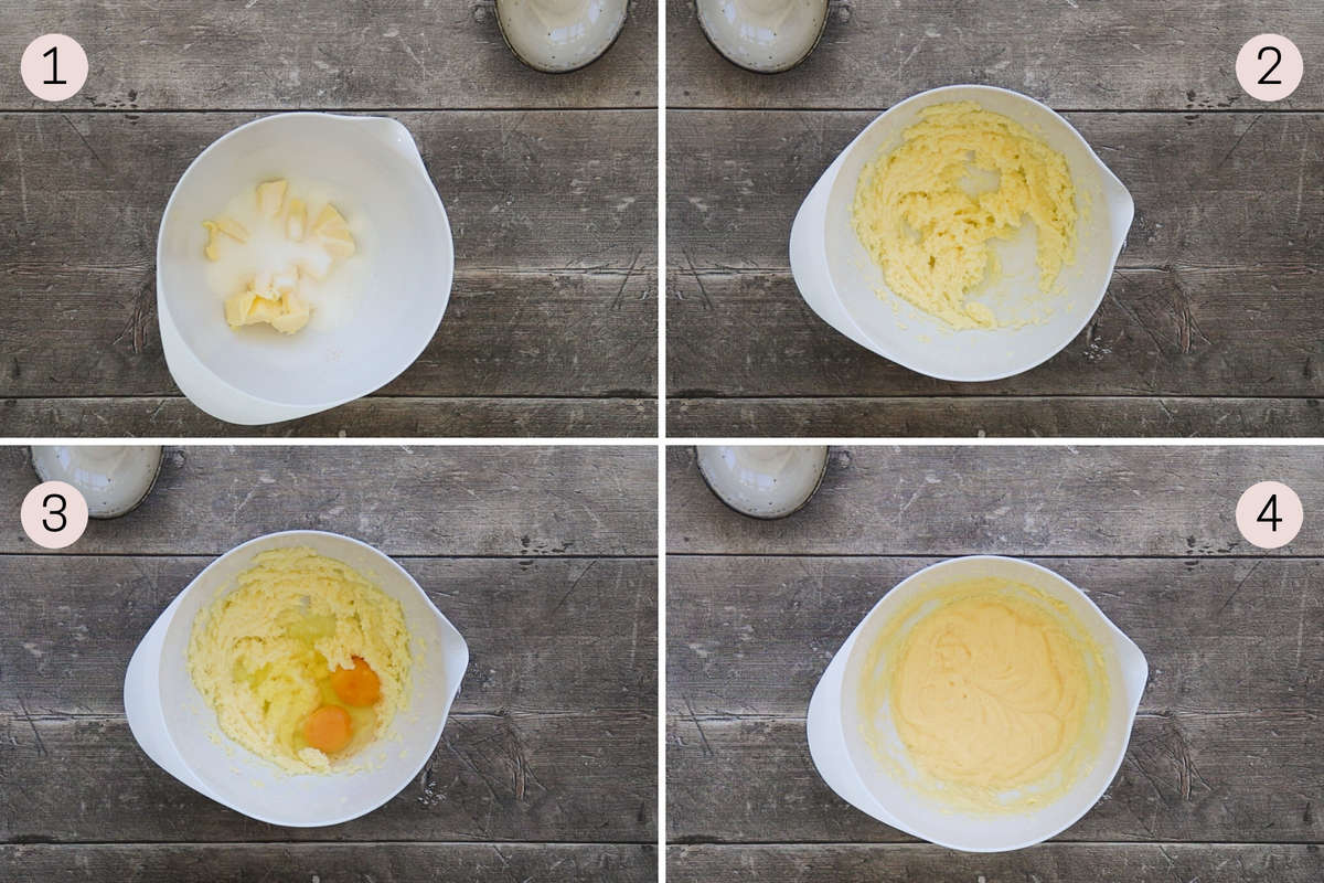 collage showing how to mix butter, sugar and eggs together