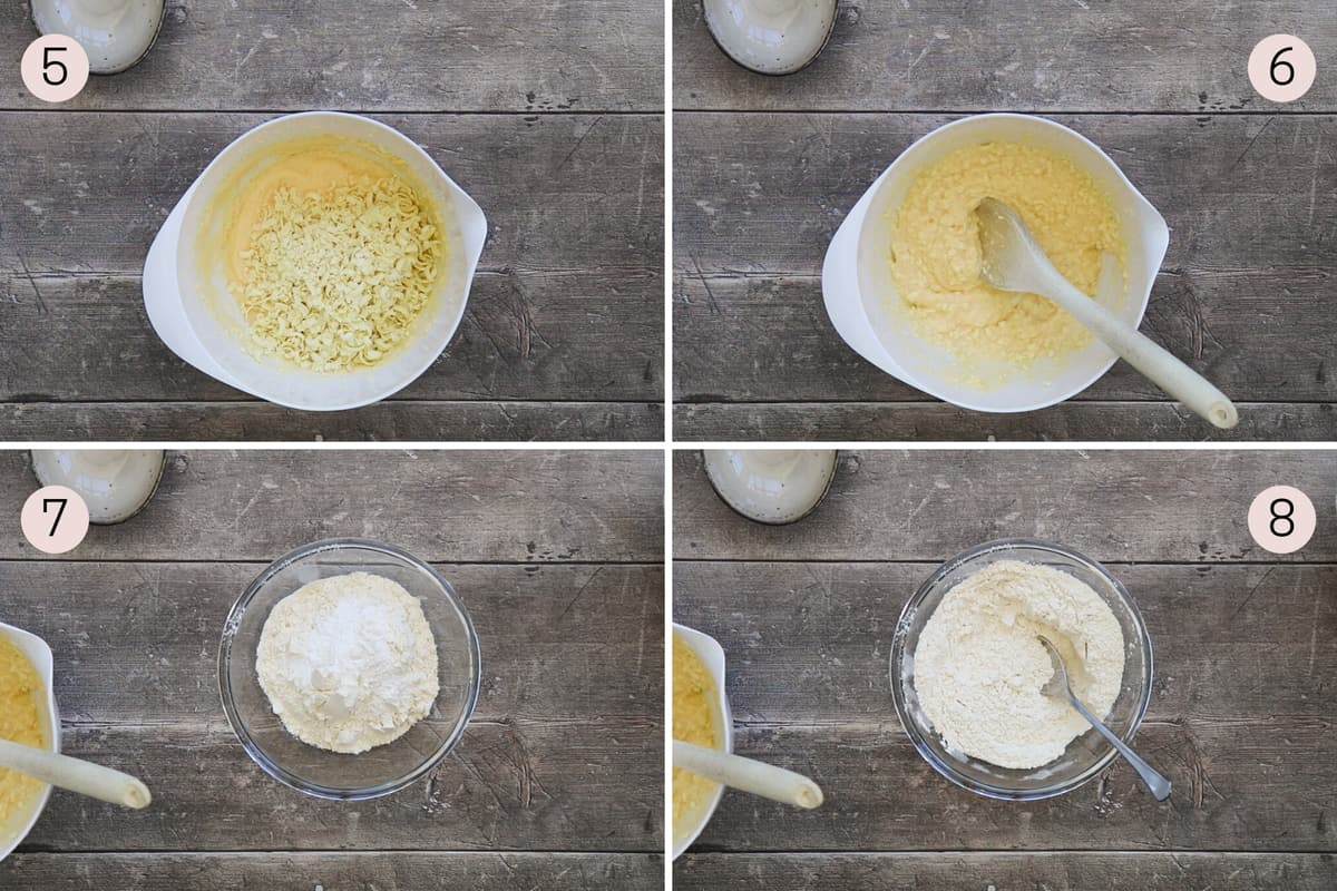 collage showing how to add white chocolate and mix together dry ingredients