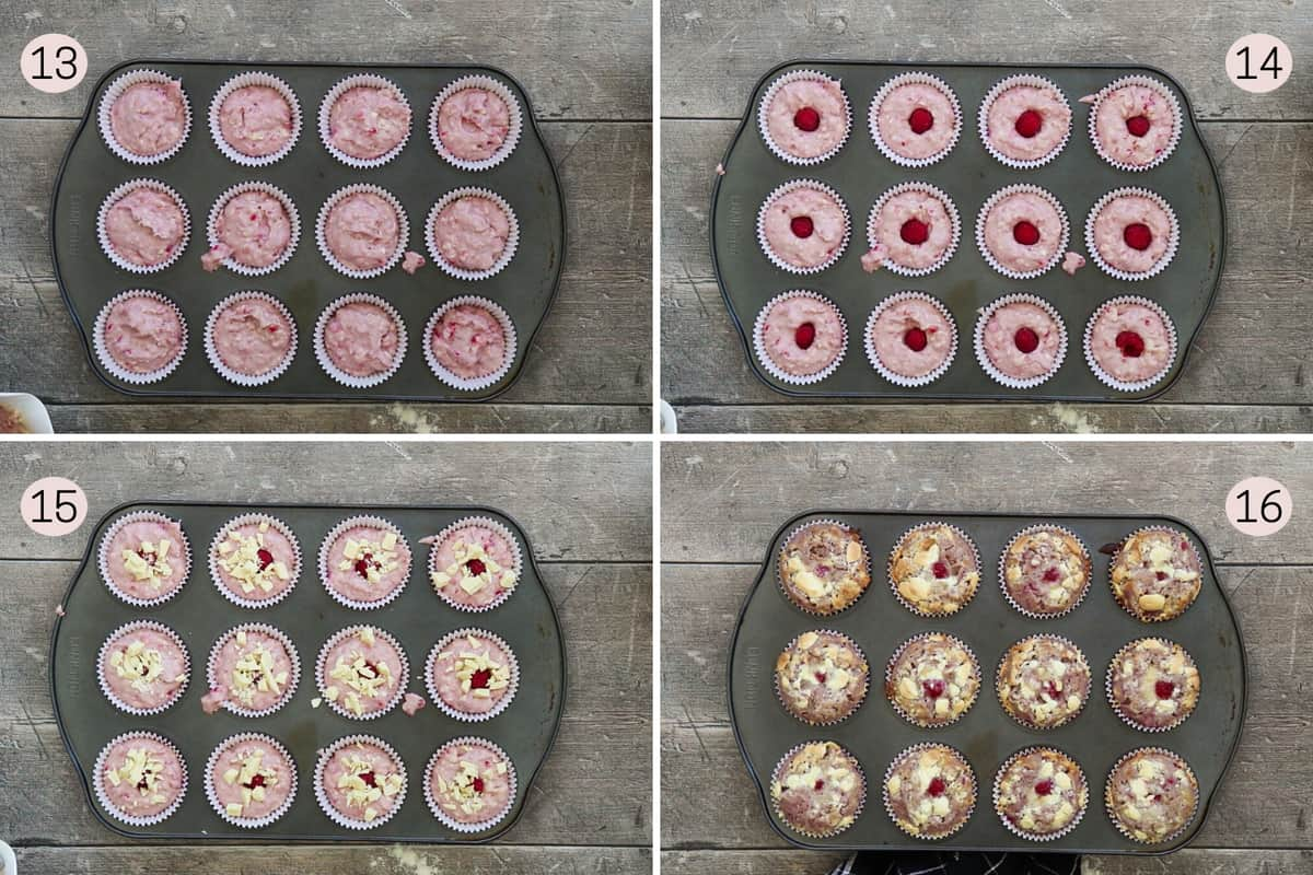 collage showing how to scoop batter into muffin liners and top with raspberries and white chocolate