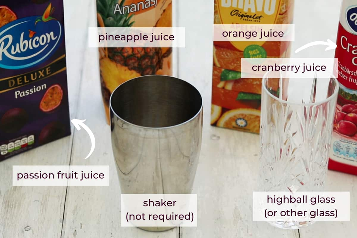 ingredients needed to make sex on the beach mocktail