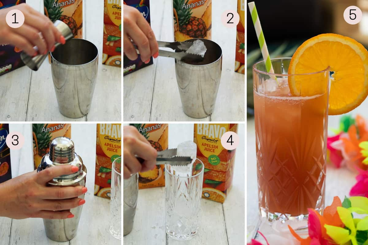 collage showing how to make a sex on the beach mocktail