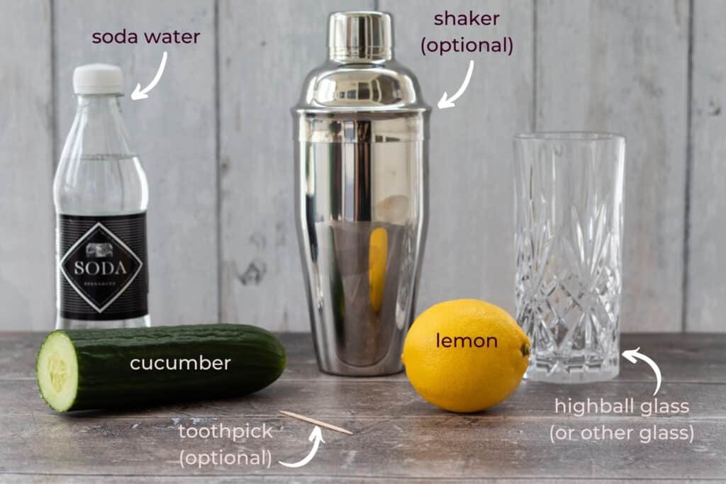 what you need to make a cucumber tom collins mocktail