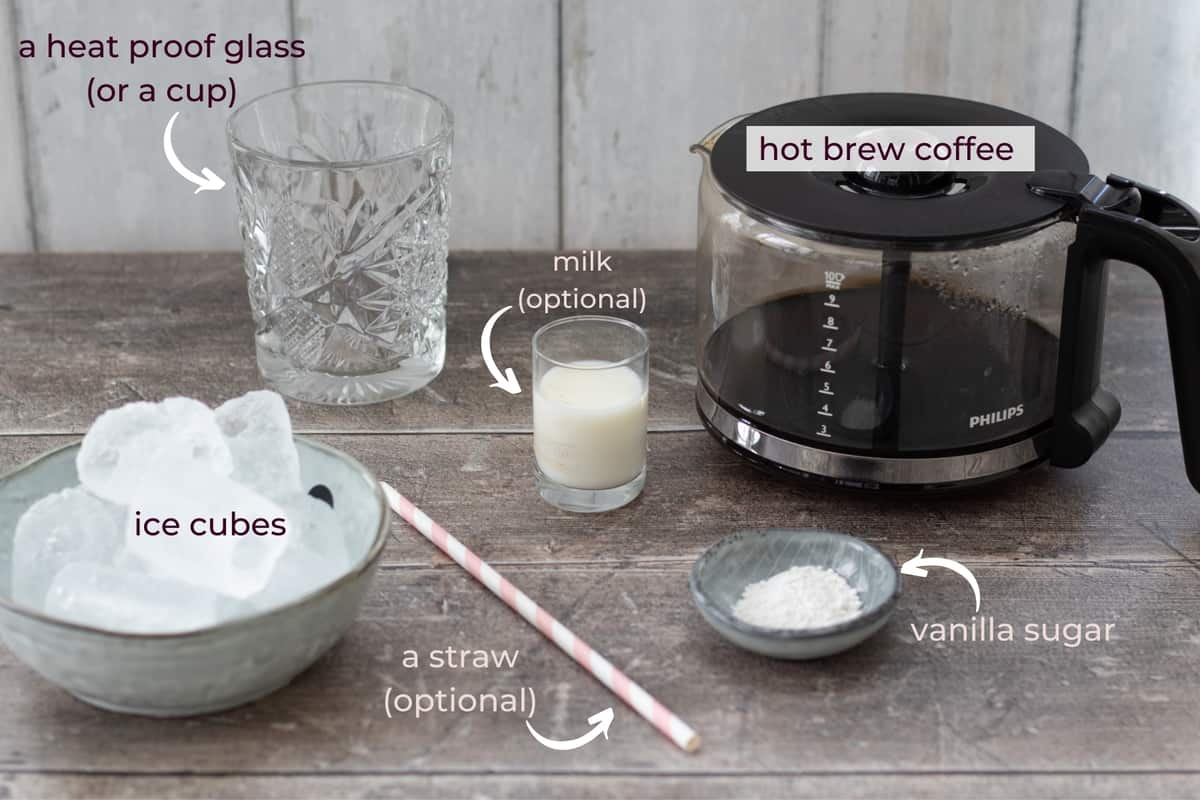 ingredients needed to make iced vanilla coffee