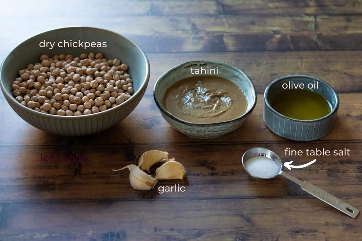 Ingredients needed to make hummus from dried chickpeas