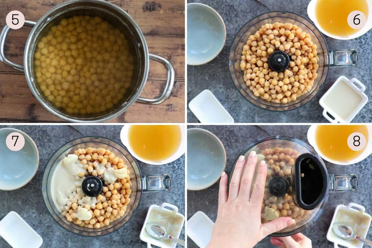 collage showing how to add chickpeas, tahini and garlic to a blender to make hummus