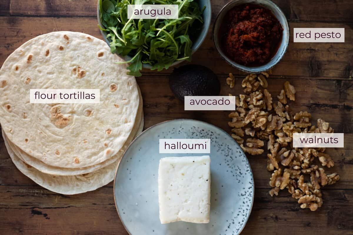 ingredients needed to make halloumi wraps