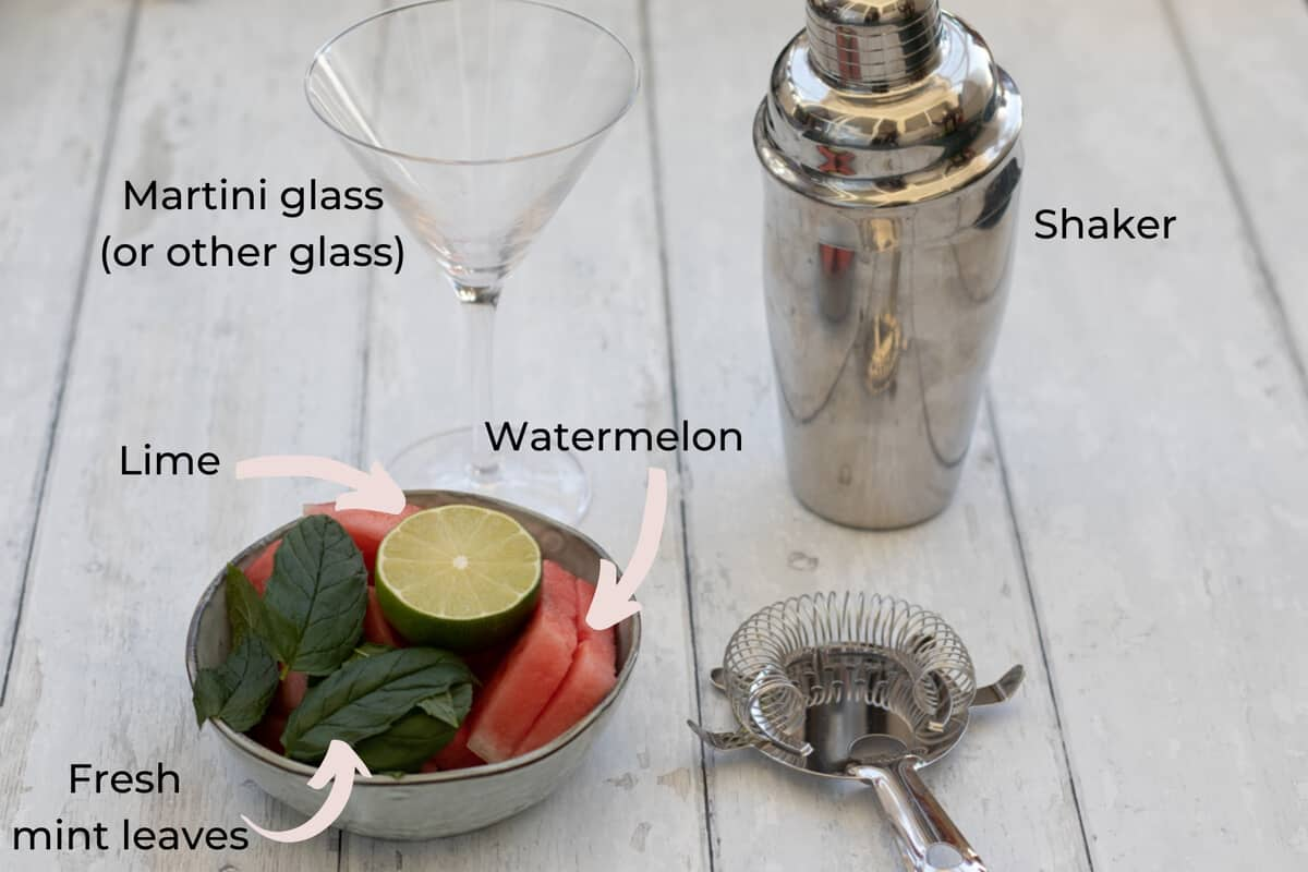 ingredients needed to make a watermelon no-tini