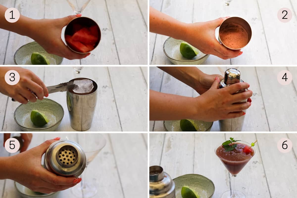 collage showing how to make a watermelon no-tini