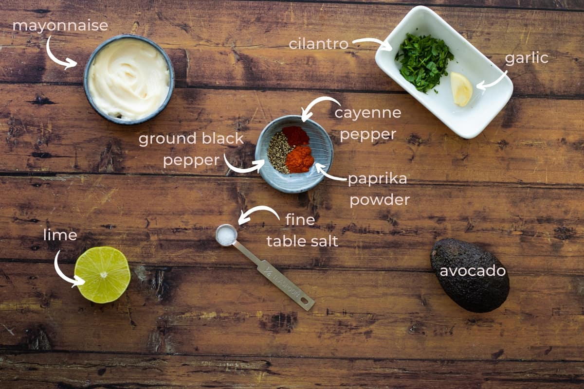 ingredients needed to make avocado lime ranch dressing