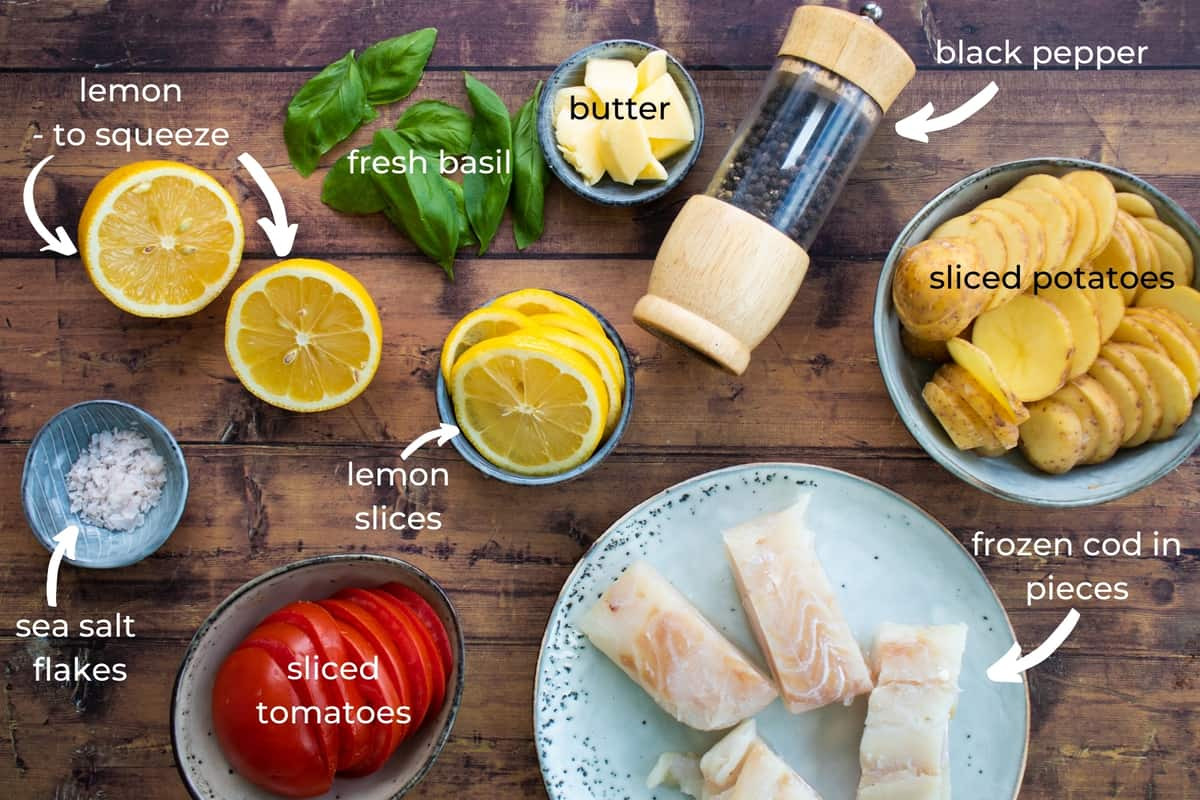 ingredients needed to make baked cod in foil